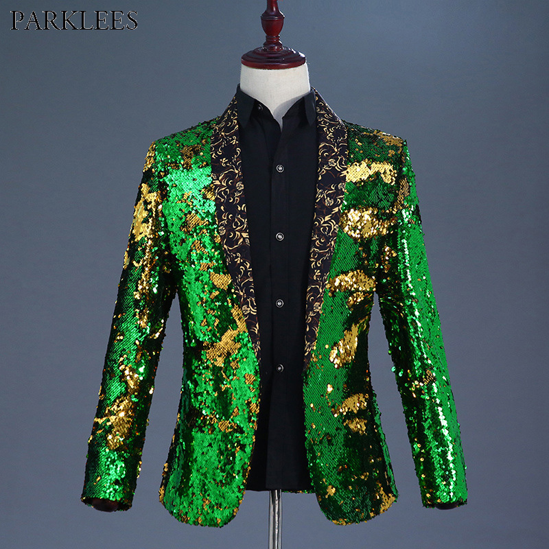 Shiny <font><b>Green</b></font> Flipping <font><b>Sequin</b></font> Bazer <font><b>Jacket</b></font> <font><b>Men</b></font> Nightclub Prom Suit Blazer <font><b>Men</b></font> Wedding Groom Stage Singer Suit <font><b>Jacket</b></font> Costume Homme image