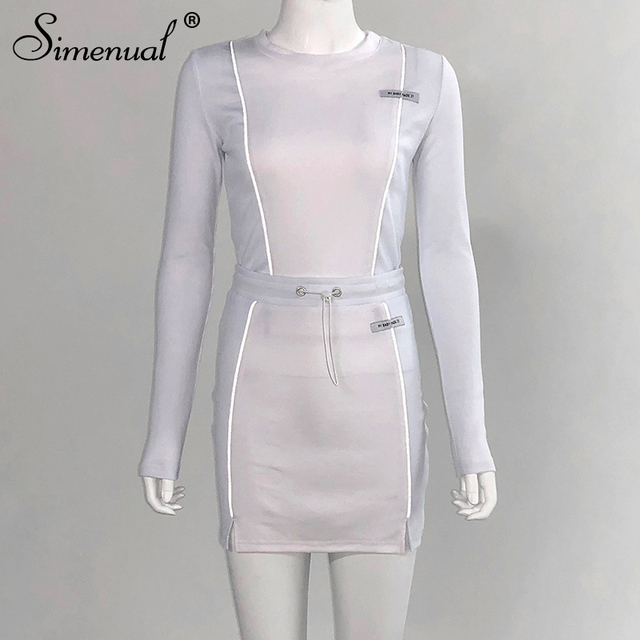 Simenual Casual Fashion Reflective Striped Two Piece Outfits Women Long Sleeve Top And Mini Skirt Sets 2019 Autumn White Set New 5