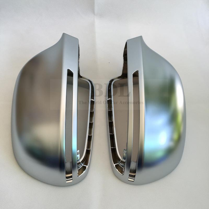 Image 2 - BODENLA Matt Chrome Mirror Cover Rearview Side Mirror Cap S Line Lane Change For Audi A4 B8 A5 8T A6 C6 Q3 A3 8P-in Mirror & Covers from Automobiles & Motorcycles