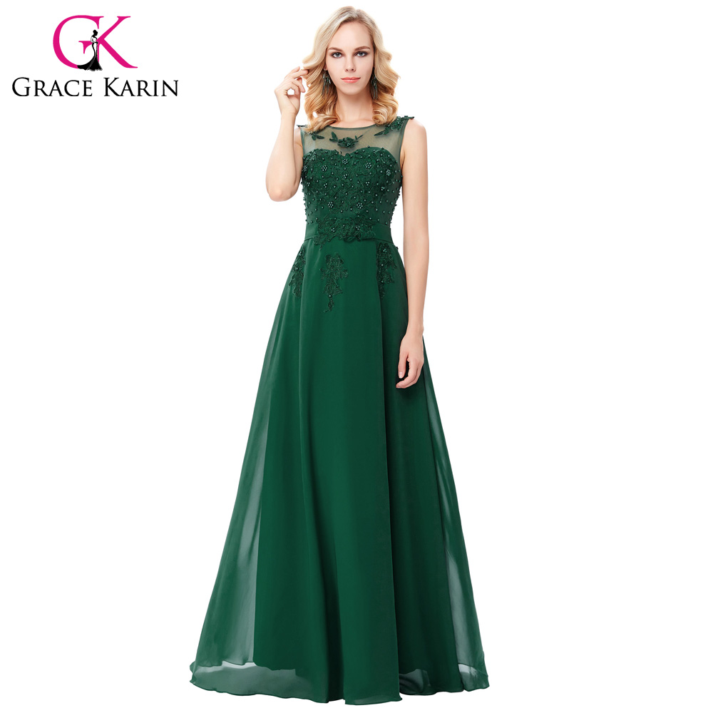 Grace Karin Elegant Long Evening Dresses 2016 Chiffon Pink Purple Red Royal Blue Black Formal Evening