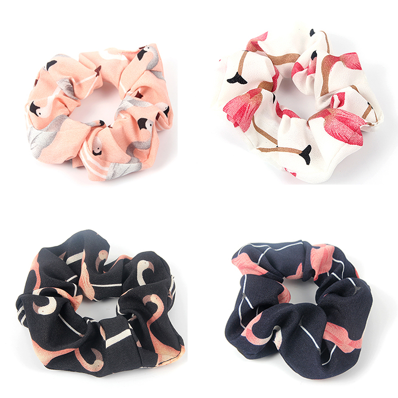 Flamingo Women Scrunchie Cotton Hair Ties for Women Hair Accessories Girls Elastic Hair Bands Ponytail Hair Holder Rope   Headwear