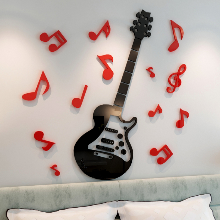 Guitar DIY 3D Acrylic Wall Stickers Home Living Room Decoration Muurstickers Voor Kinderen Kamers Music Notes Stickers Enfant