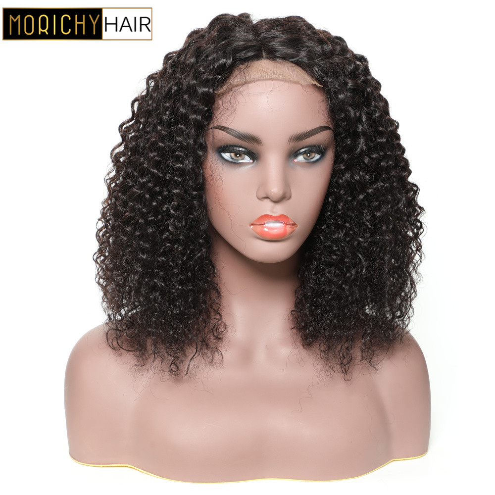 Morichy Brazilian Kinky Curly Lace 4x4 Closure Non-Remy Human Hair Wigs Short Cut Bob Wigs With Preplucked Hairline For Women