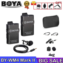 Boya BY-WM4/WM4 Mark II Wireless Studio Condenser Microphone System Lavalier Lapel Interview Mic for iPhone Canon Nikon Cameras цены онлайн