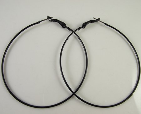 Free Shipping 72pcs 36pairs 50mm Black Hoop Earrings Whole Fashion Earring