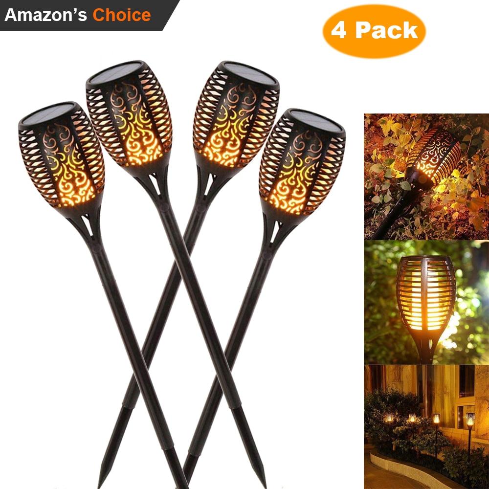 4X nueva llama Solar parpadeante lámpara de césped Led antorcha Luz de llama de baile realista impermeable al aire libre decoración de la lámpara caliente