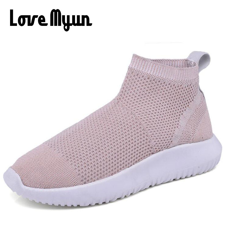 2018 summer Pink Women Breathable Walking shoes comfort Casual Sneaker Shoes Girl / Lady Knitted Fly weaving cloth Shoes LL-01