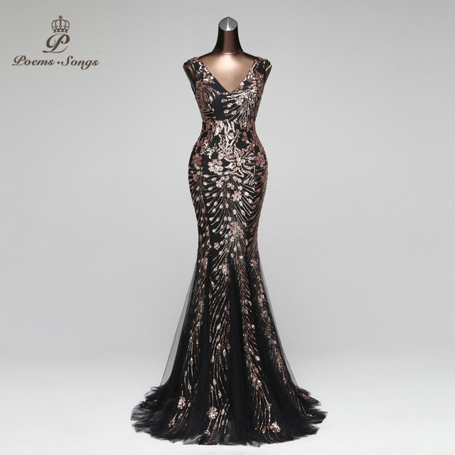 Poems Songs Double-V Mermaid  Evening Dress prom gowns Formal Party dress vestido de festa Elegant Vintage robe longue