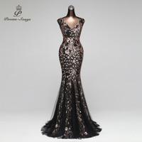 Poems Songs 2018 Double V Mermaid Evening Dress prom gowns Formal Party dress vestido de festa Elegant Vintage robe longue