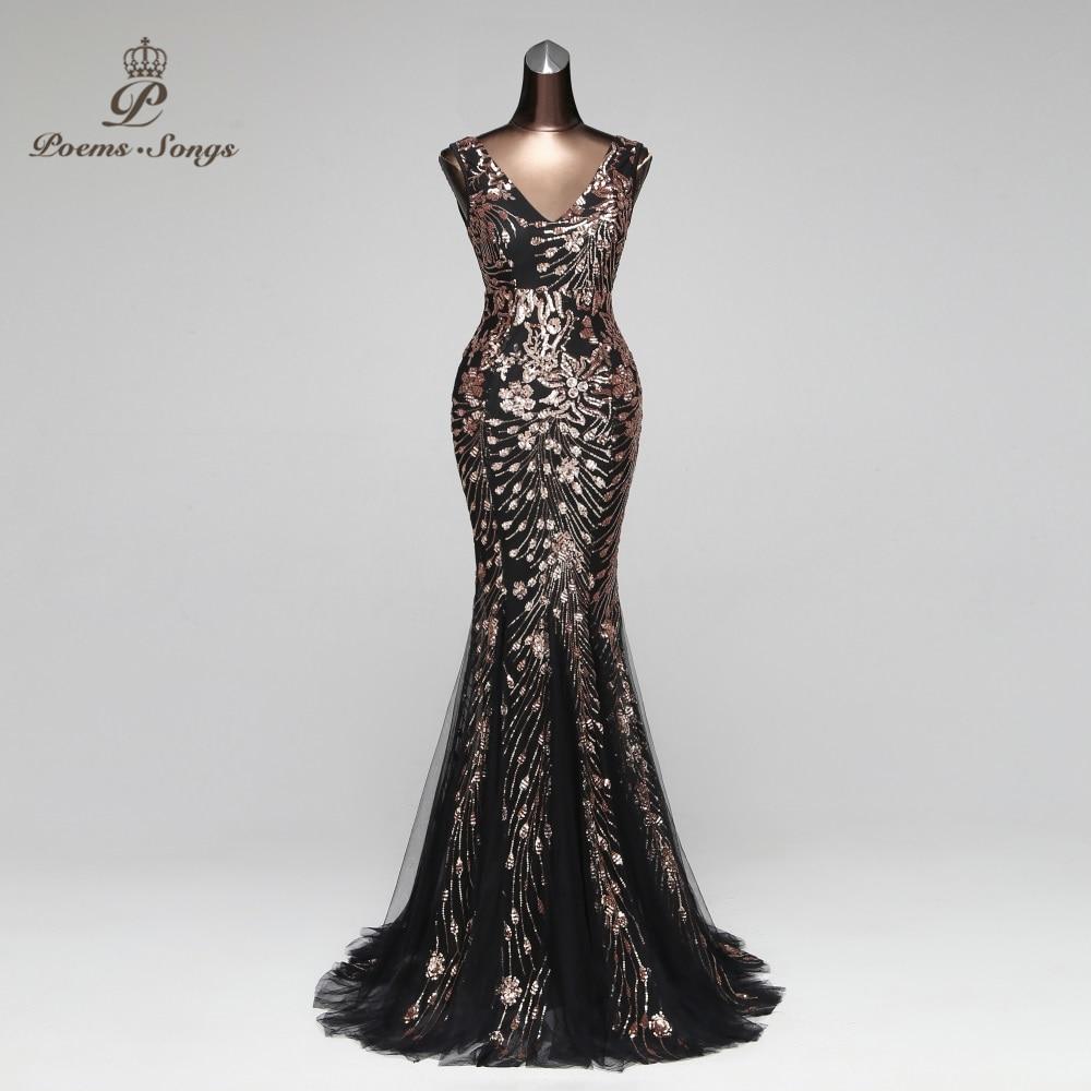 Poems Songs 2019 Double V Mermaid Evening Dress prom gowns Formal Party dress vestido de festa Elegant Vintage robe longue