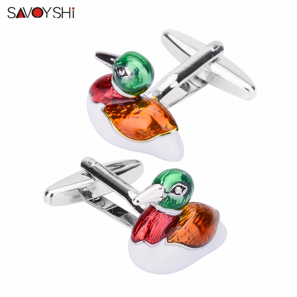 SAVOYSHI Mandarin Duck Love Cufflinks for Men Shirt Accessories High Quality Enamel Cuff links Men Jewelry Fathers Day Gifts