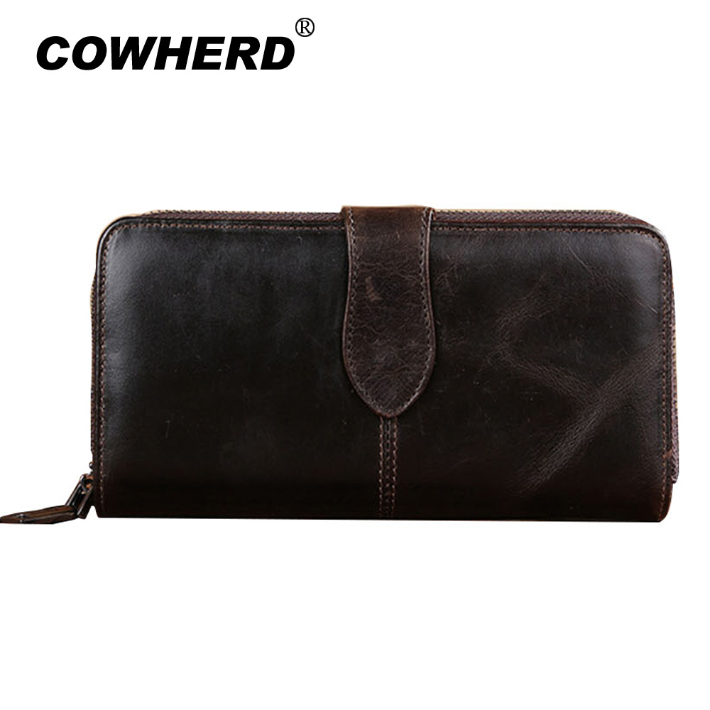 COWHERD Men Wallets Cell Phone Bag Vintage Genuine Leather Clutch Wallet Male Purses Large Capacity Wallet With Zipper&Hasp