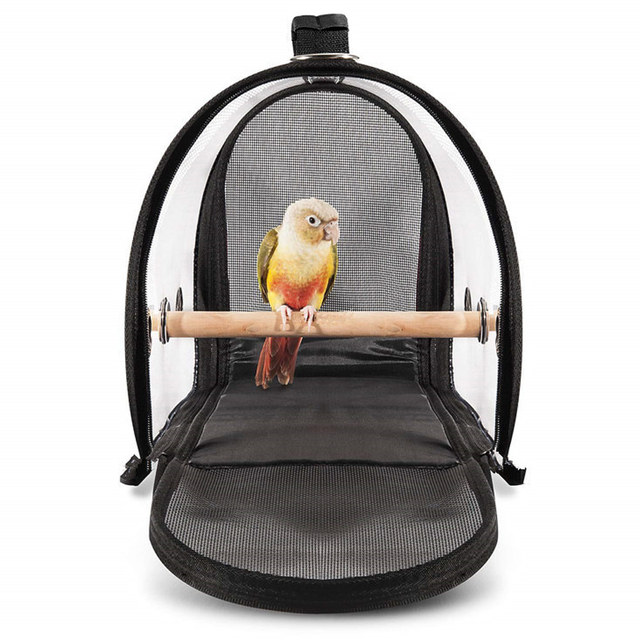 Newly Lightweight Bird Carrier Cage Transparent Clear PVC Breathable Parrots Travel Bag XSD88 2