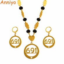 Anniyo Micronesia Pendant Necklaces Earrings Jewelry sets With Beads Chains Gold Color Trendy Bead Jewellery Gifts 691 #036821S