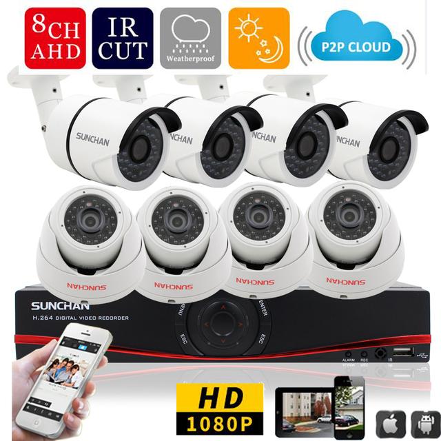 SunChan 8CH CCTV Sistema 1080 P HDMI 8CH DVR 8 PCS 2.0 MP AHD Câmera de Segurança IR Ao Ar Livre Câmera 3000TVL Sistema de vigilância