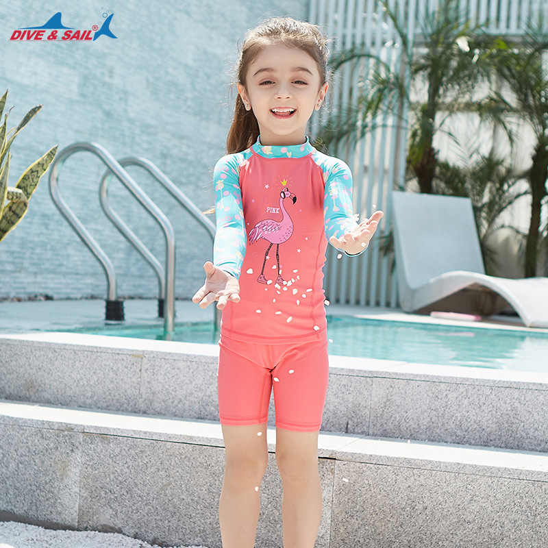 8f9fe21c6527d ... Summer Swimsuit 2018 girls Boys Rash Guards Long Sleeve Two-piece  Swimwear Set Cute Kids ...