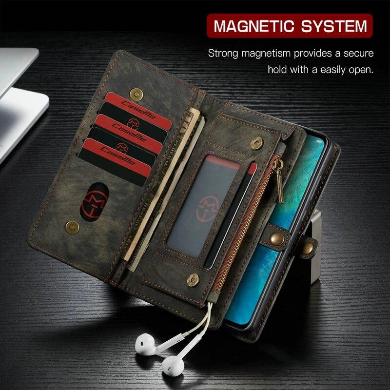 CaseMe – coque portefeuille à fermeture magnétique, étui à rabat en cuir détachable pour Huawei Mate 20 Pro P20 lite P20 Pro