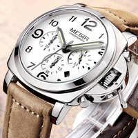 MEGIR นาฬิกาสุดหรูแบรนด์ relogio masculino Chronograph ปฏิทินนาฬิกา Mens หนังกีฬาทหารนาฬิกาผู้ชายชายนาฬิกา 3406