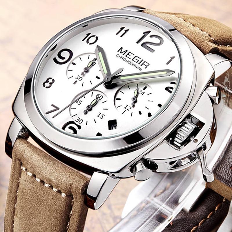 Prix pour Megir top marque de luxe relogio masculino chronographe calendrier horloge mens en cuir militaire sport montre hommes mâle cadeau montres 3406