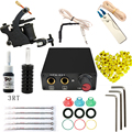 Complete profession Tattoo kits 10 wrap coils 1 guns machine black tattoo ink sets power supply disposable needle clip cord