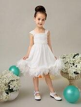 A-line тюль кот свадебный цветок девочки Платья маленькие девочки платья с перьями элегантные детей девочек вечерние платья