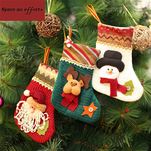 Christmas Tree Fillers.Us 15 7 Christmas Stockings 3pcs Cheap Artificial Christmas Tree Ornaments Personalized Kint Socks Filler Christmas Decorations For Home In Trees