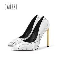 Gaozze Белый змеиной Женская обувь из кожи Насосы металла высокий тонкий каблук Женская обувь с острым носком Модные смешивания Цвет Насосы об