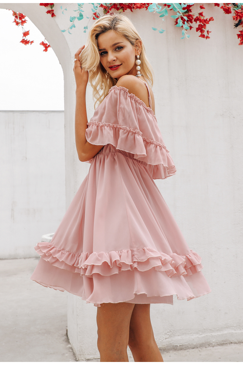 Simplee Elegant ruffle off shoulder women dress Spaghetti strap chiffon summer dresses Casual holiday female pink short sundress 9