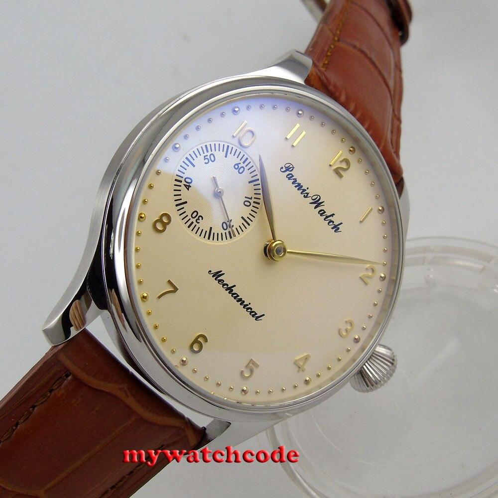 ใหม่มาถึง 44 มิลลิเมตร parnis สีเหลือง 6497 การเคลื่อนไหว hand winding mens นาฬิกา P369-ใน นาฬิกาข้อมือกลไก จาก นาฬิกาข้อมือ บน   1