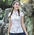 White Print Flower Summer Cotton Linen Blouse Chinese Women Short Sleeve Tang Suit Tops Slim Sexy Shirt M L XL XXL XXXL NS030