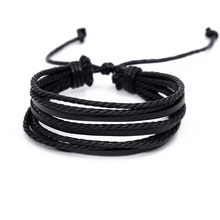 Neutral classic genuine Leather multi-layer bracelet good friend gift length adjustable rope weave