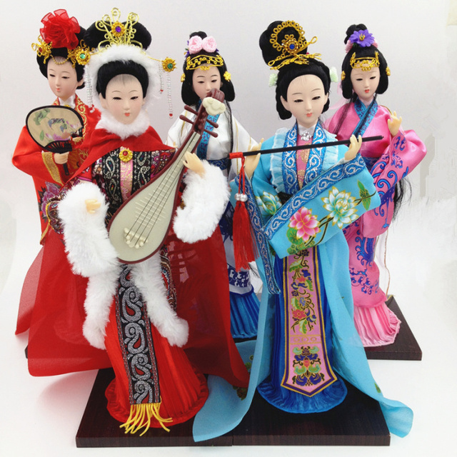 2019 new Traditional Chinese Dolls Girls Toy Ancient Collectible Beautiful Vintage Style Princess Ethnic Doll with Dress 33cm