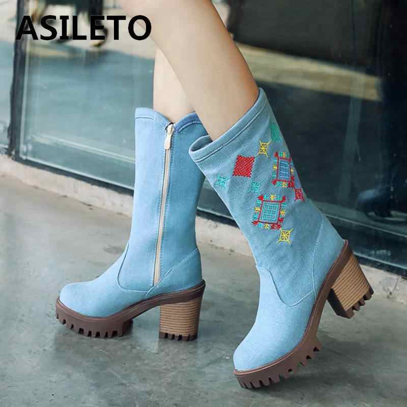 21d9555a4f15 Detail Feedback Questions about ASILETO denim women boots thick high heels  jeans booties zipper girls shoes woman embroider boots western cowboy  chaussures ...