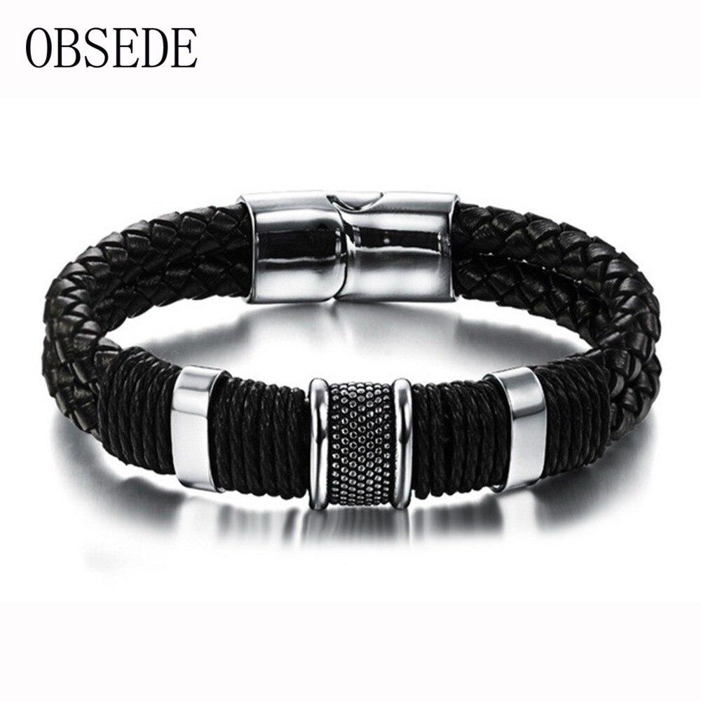 OBSEDE Fashion Genuine Leather Men Bracelet Titanium Stainless Steel Cuff Bracelets Black Braid Rope Punk Silver Color Jewelry