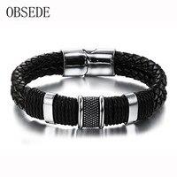 2016 Black Braid Woven Leather Bracelet Titanium Stainless Steel Cuff Bracelet Men Bangle For Men Jewelry
