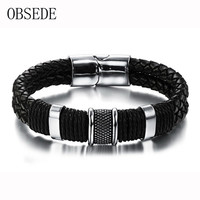 2016 Black Braid Woven Leather Bracelet Titanium Stainless Steel Cuff Bracelet Men Bangle For Men Jewelry