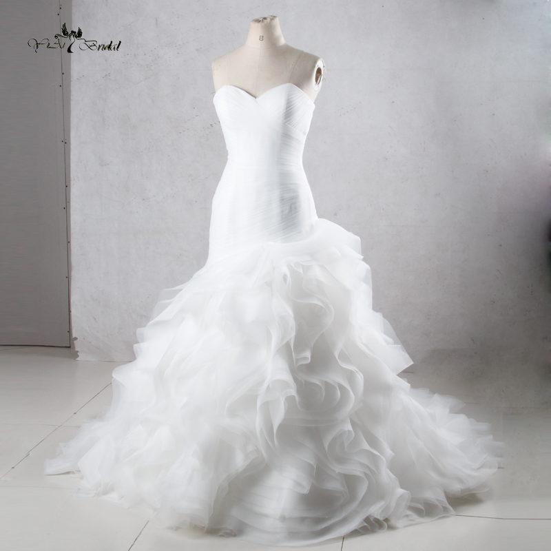 Tw0195mermaid princess wedding dresses with ruffled skirt for Cheap wedding dress from china