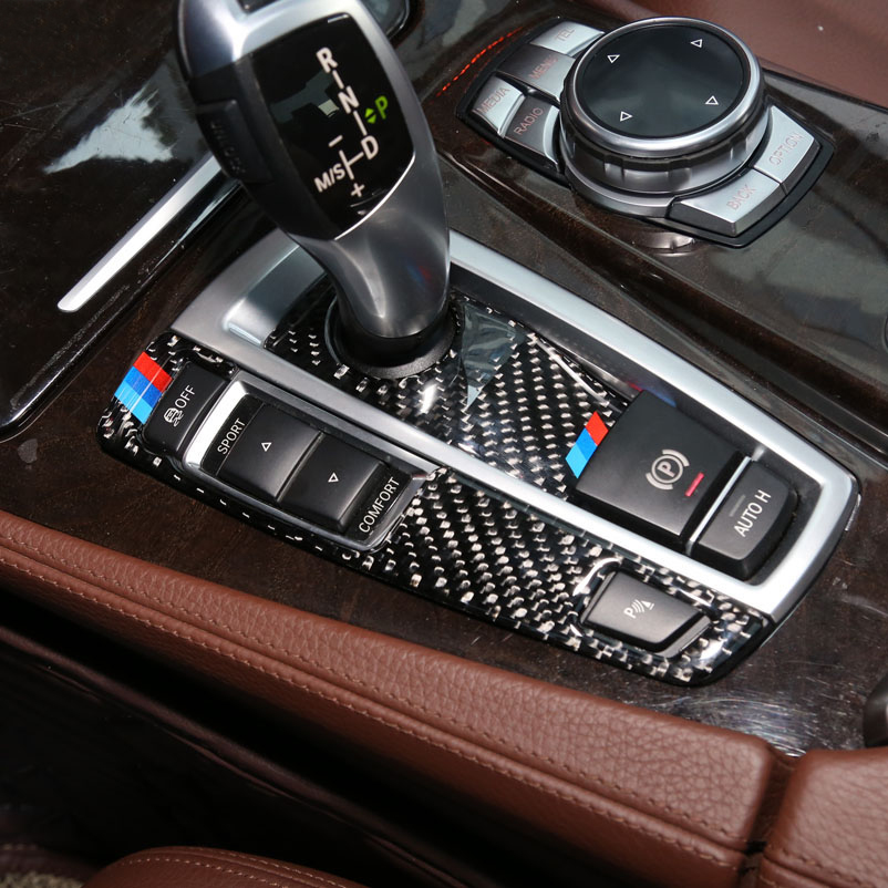 For <font><b>BMW</b></font> F10 <font><b>F01</b></font> F25 F26 Interior Trim Carbon Fiber Gear Shift Control Panel Cover Sticker Car styling 5 7 series X3 X4 <font><b>Accessory</b></font> image