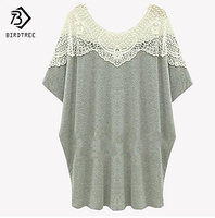 Summer Large Size T Shirts Women Short Sleeve Lace Hollow Out Cotton Long Tees Top For