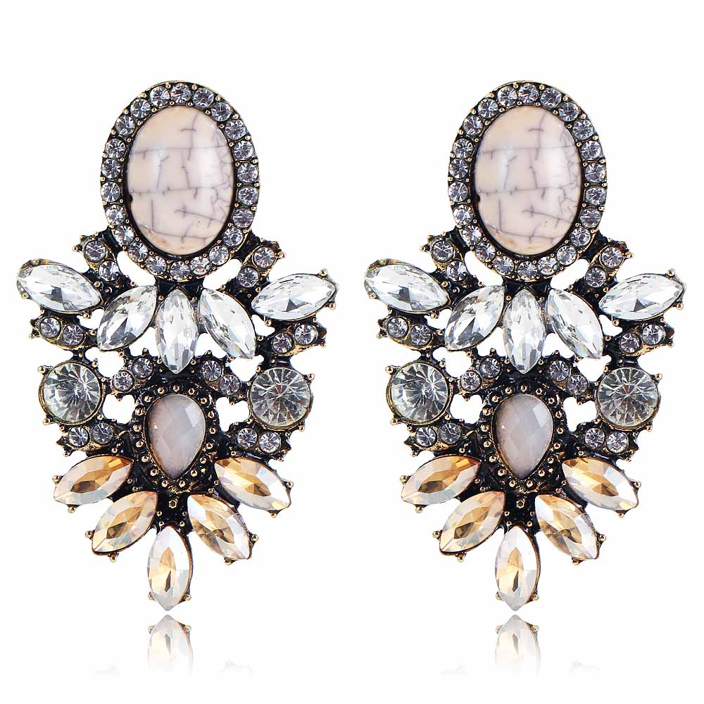 Us 2 93 Yayi White Brown Gl Rhinestone Stone Earring Women S Fashion Ancient Gold Earrings Gems Long For In Drop