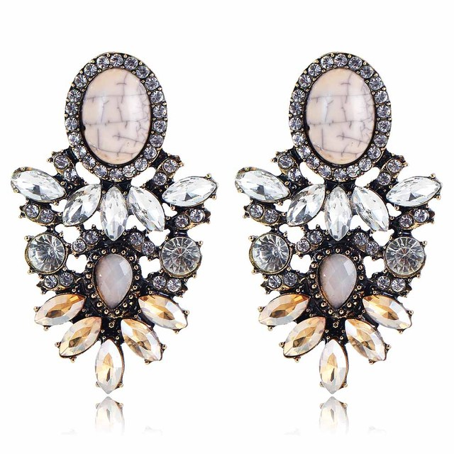 Yayi White Brown Gl Rhinestone Stone Earring Women S Fashion Ancient Gold Earrings Gems Long