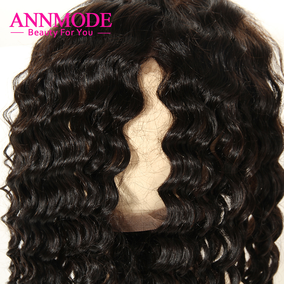Annmode Brazilian Deep Wave 360 Lace Frontal Closure Free Part 22.5*4*2 Natural Hairline Non Remy Human Hair Extensions