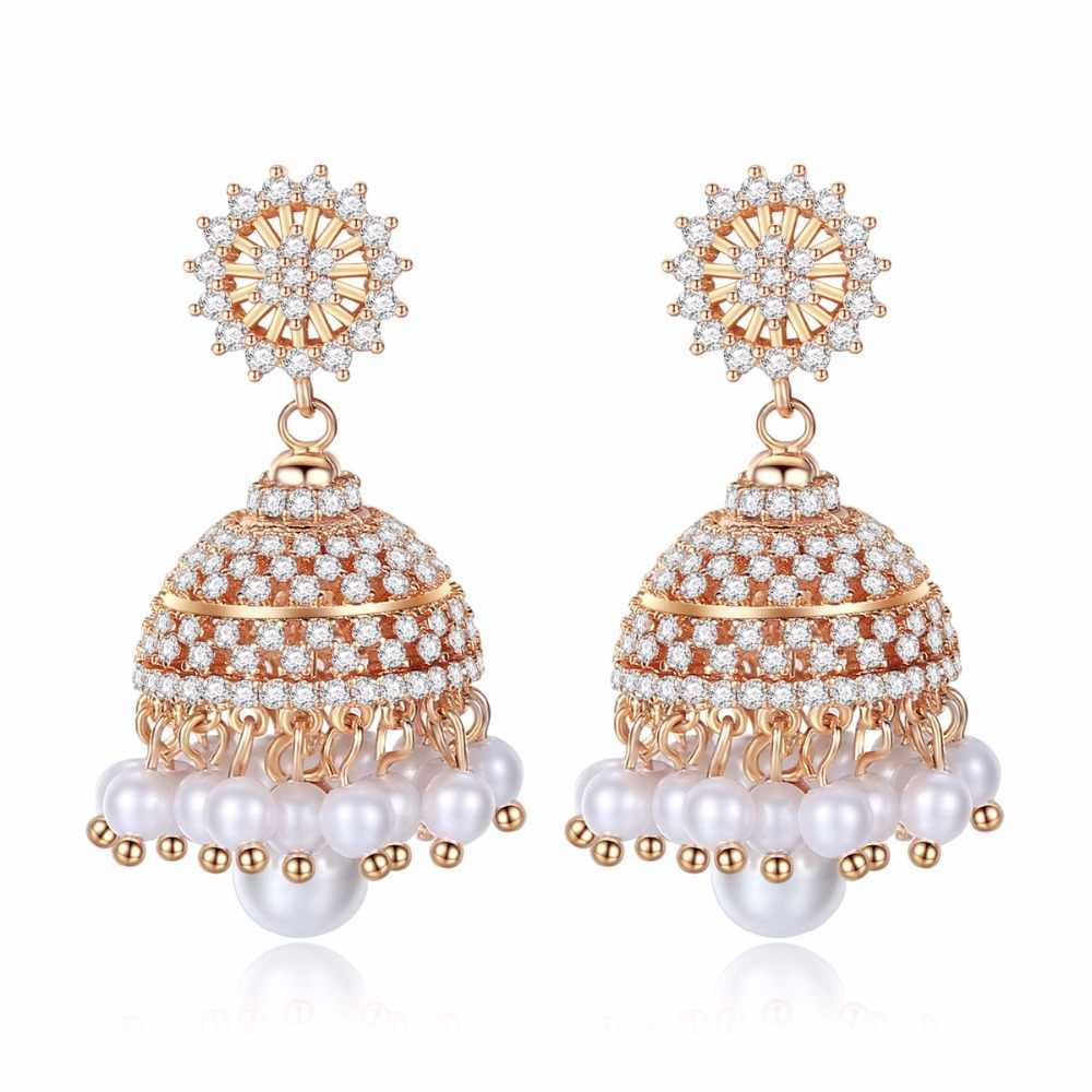 8c7428447 India Bollywood Women Gorgeous Jhumki Earrings Artificial Pearls Light  Jewelry Electroplated Golden High Quality Zircon Earring