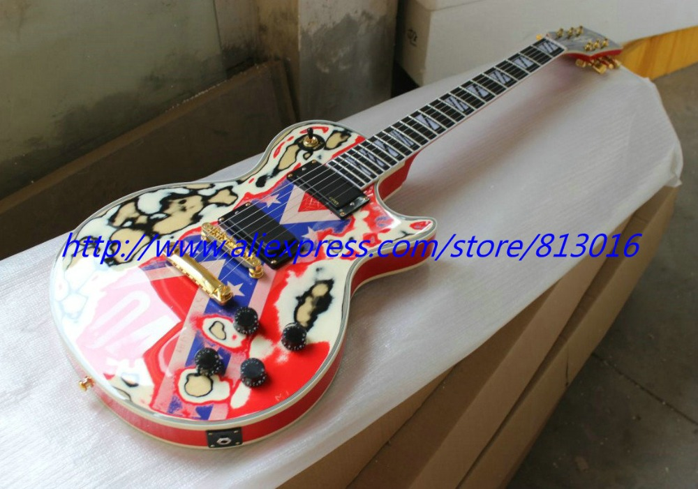 New! LP custom electric guitar musical instrument wear off old aged. gold parts ,Ebony fingerobard,fret nibs! china electric guitar lp custom black beauty solid body gold parts musical instruments free shipping