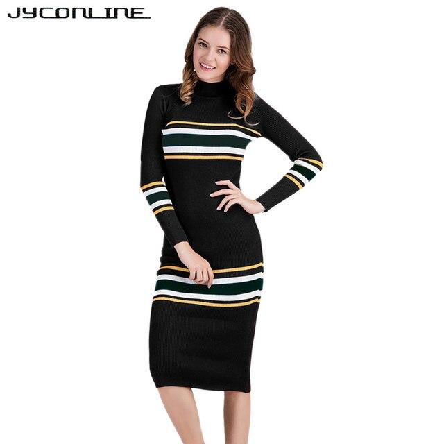 21a8c681cc3fa JYConline Autumn & Winter Long Sleeve Striped Sweater Dresses Women Knitted  Long Dress Bodycon Pencil Dress Vestidos 2017 Robe