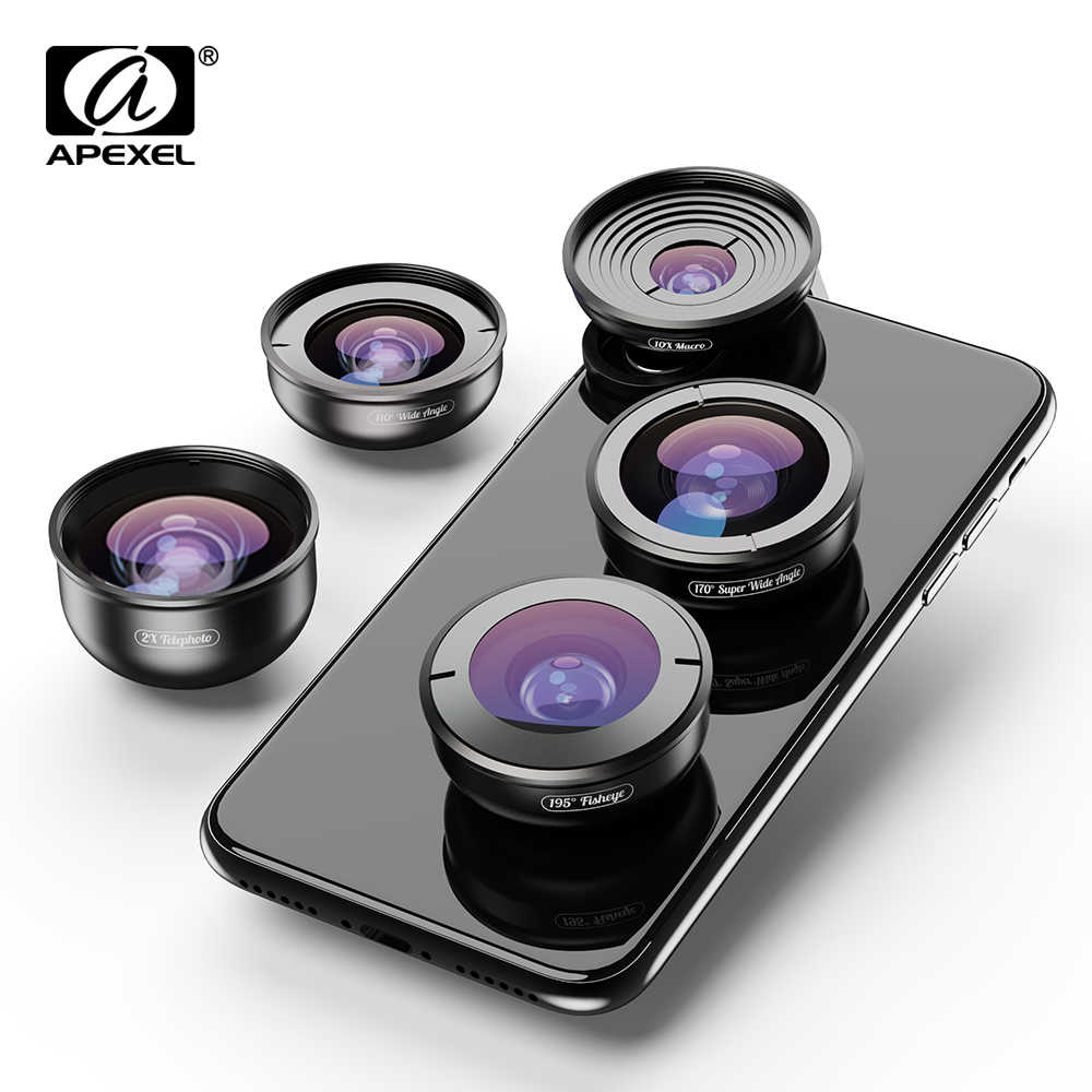 APEXEL 5in1 Mobile Phone Lens Kit HD 4K Wide Macro Super Fisheye Telescope Camera Lens for iPhone XR Samsung S10 all smartphone