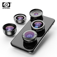 Apexel 5in1 휴대 전화 렌즈 키트 hd 4 k 와이드 매크로 슈퍼 어안 망원경 카메라 렌즈 아이폰 xr 삼성 s10 모든 스마트 폰