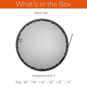 Image 2 - Grade de alumínio padrão do favo de mel do refletor 6.7 17 17 17cm 2/3/4/5/6/7mm para o estúdio padrão da fotografia da grade do refletor de bowens