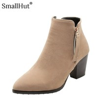 High Heel Ankle Boots Women Autumn Ladies Fashion Square Heel E108 Elegant Woman Black Apricot Yellow Pointed Toe Short Boots genuine leather square high heel buckle woman ankle boots fashion pointed toe zipper ladies boots black apricot