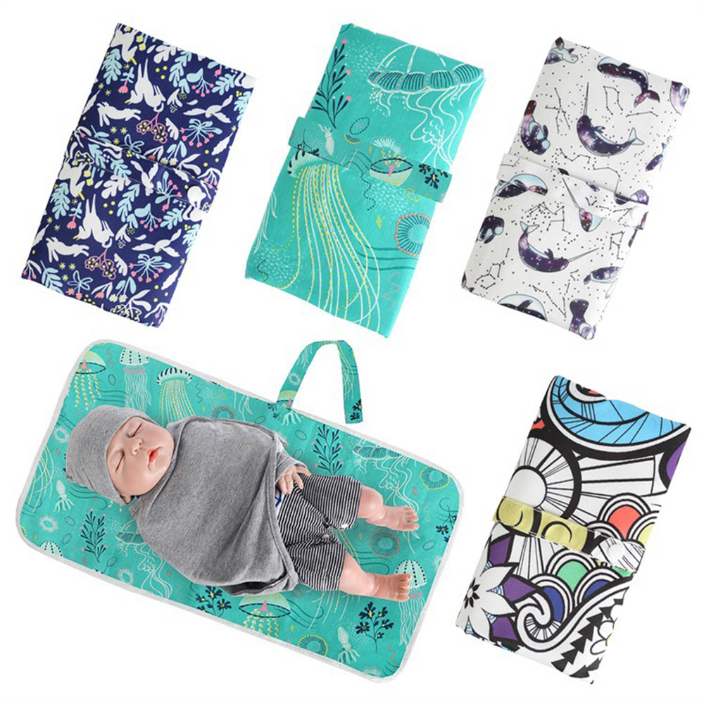 Portable Diapering Pad Baby Changing Mat Animal Pattern Waterproof Diaper Changing Pads Travel Friendly Infant Baby Super Mat